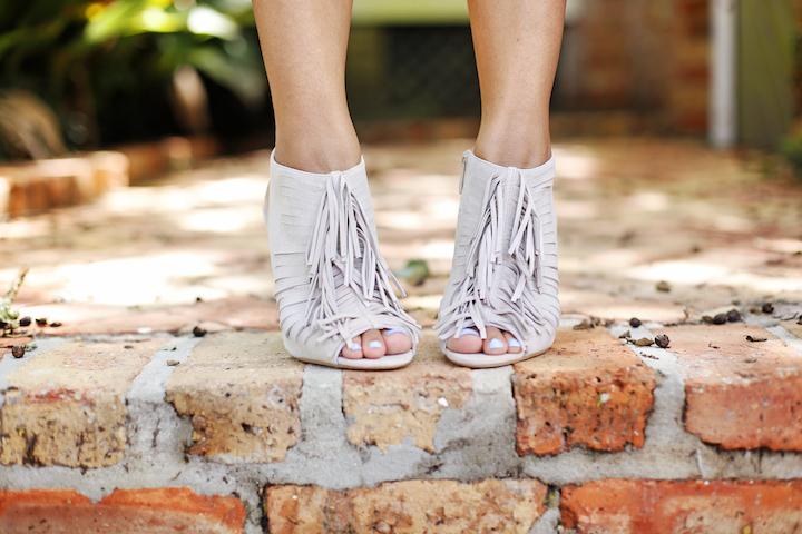 fringe peep toe heels