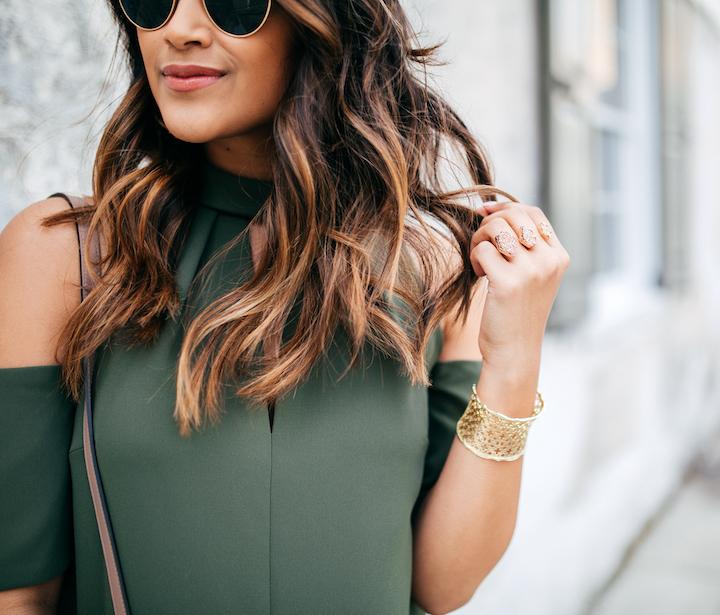 Olive-Cold-Shoulder-Dress