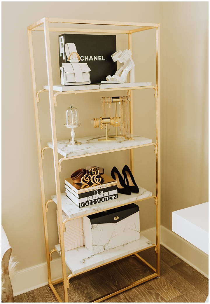 gold and marble shelf