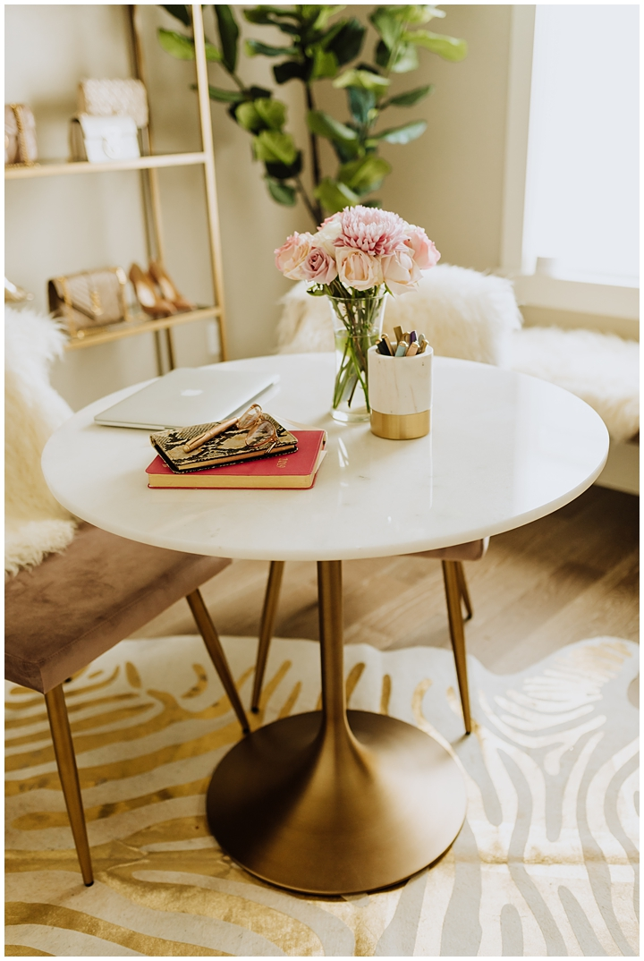 gold and marble table