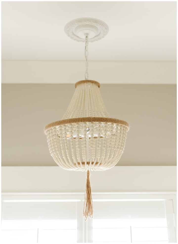 wooden beaded light fixture