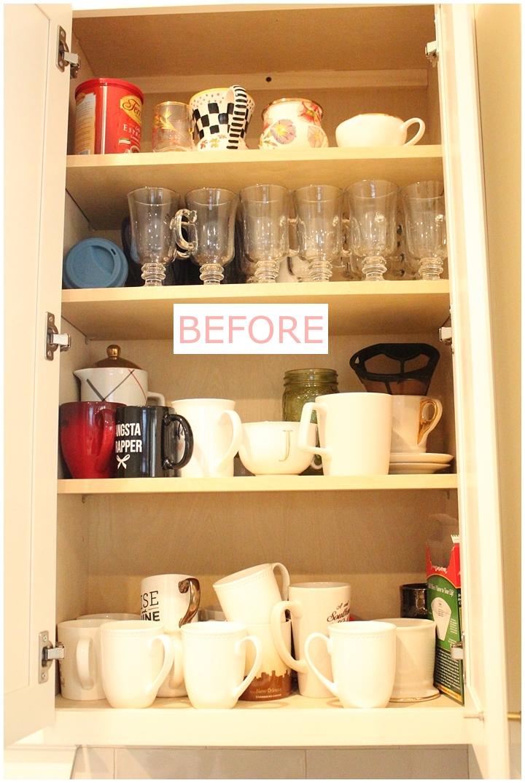 messy coffee mug cabinet