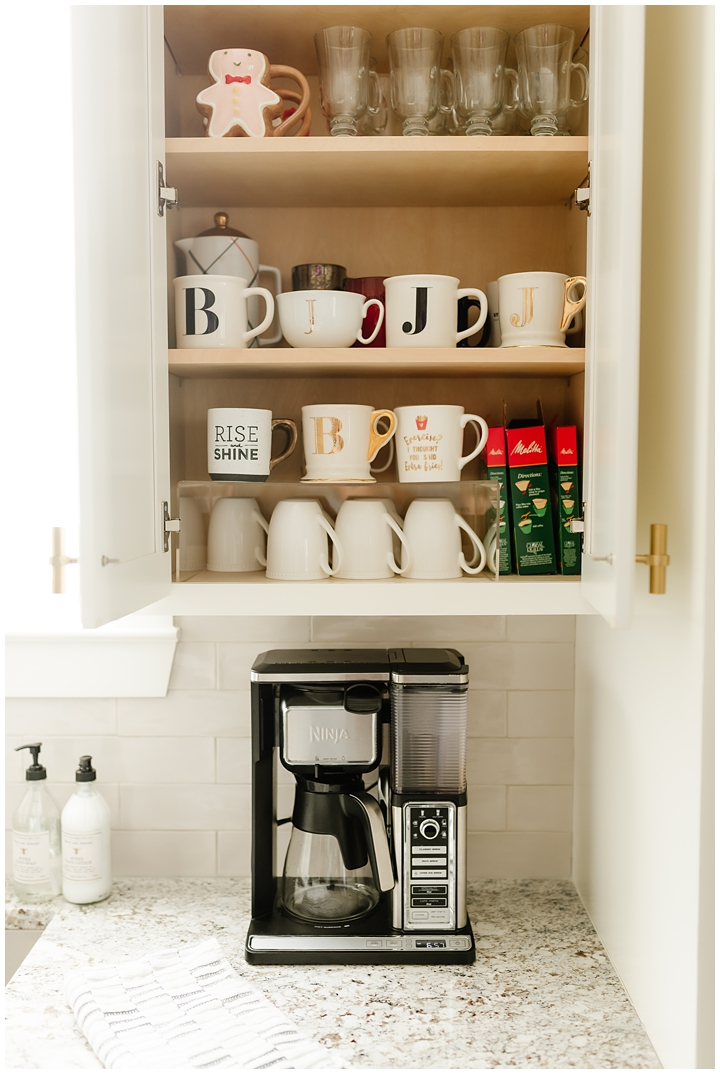 organized coffee mug cabinet