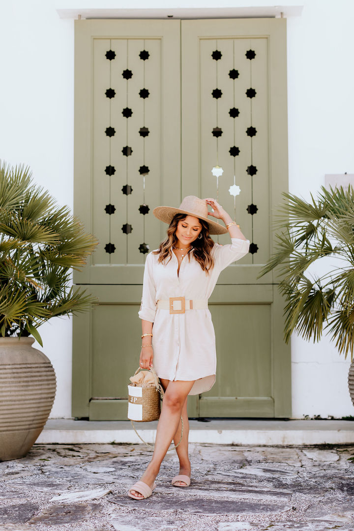 nude shirt dress
