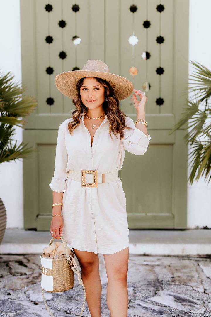 taupe shirt dress