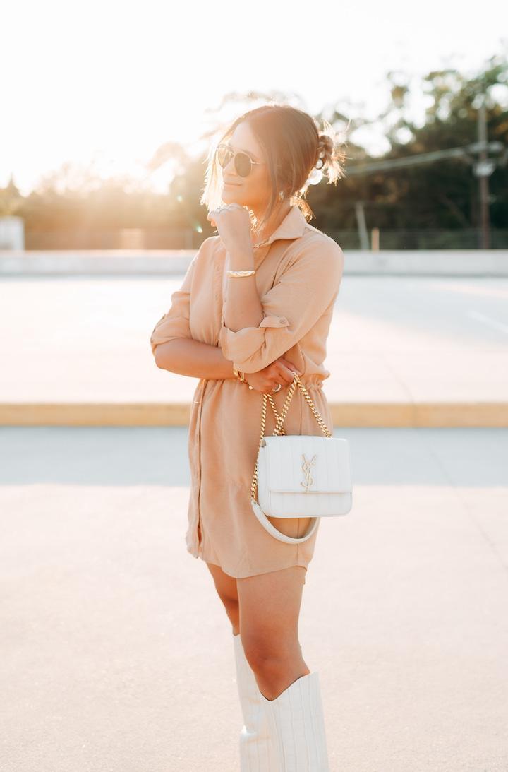 tan shirt dress