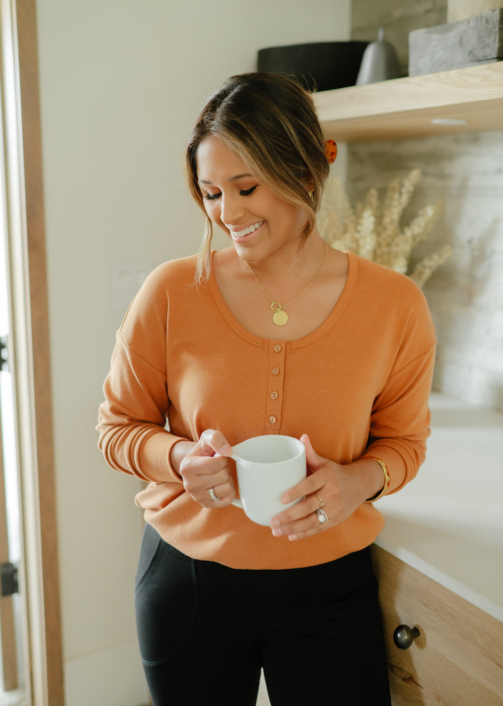 cropped henley shirt